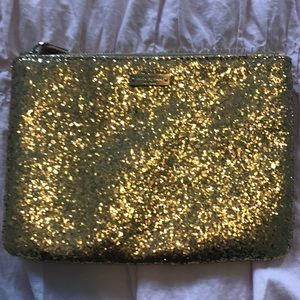 Kate spade gold sparkly clutch